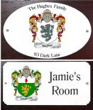Family Crest Door Plaque, Oval or Rectangular PERSONALISED, ref FCDP